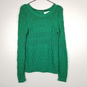 Anthro Sparrow Green Cable Fuse Pullover Sweater M